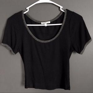 Charlotte Russe Black & Grey Short-Sleeve Crop Top